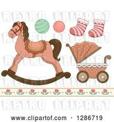 Vector Clip Art of Retro Baby Toys, Socks, Floral Border, a Carriage and Rocking Horse by BNP Design Studio
