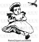 Vector Clip Art of Retro Baby Watching a Bee by Prawny Vintage