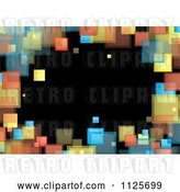 Vector Clip Art of Retro Background of a Border of Colorful Squares on Black by Michaeltravers