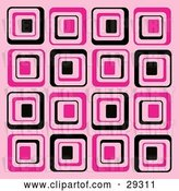 Vector Clip Art of Retro Background of Black and Pink Square Patterns by KJ Pargeter