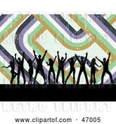 Vector Clip Art of Retro Background of Black Silhouetted Dancers with Lines by KJ Pargeter