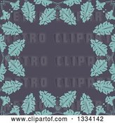 Vector Clip Art of Retro Background of Blue Leaves over Gray by KJ Pargeter