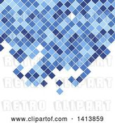 Vector Clip Art of Retro Background of Blue Mosaic Pixels or Tiles on White by KJ Pargeter