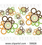 Vector Clip Art of Retro Background of Brown, Orange and Green Circles on White by Kaycee