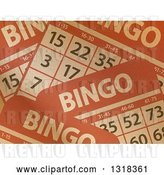 Vector Clip Art of Retro Background of Brown Paper Textured Bingo Cards by Elaineitalia