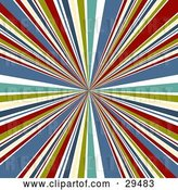 Vector Clip Art of Retro Background of Bursting White, Green, Yellow, Blue and Red Lines Emerging from the Center by KJ Pargeter