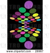Vector Clip Art of Retro Background of Colorful Purple, Green, Yellow, Orange, Blue, Red and Pink Circles Reflecting on Black by KJ Pargeter