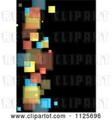 Vector Clip Art of Retro Background of Colorful Squares on Black 3 by Michaeltravers