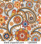 Vector Clip Art of Retro Background of Floral Paisleys by OnFocusMedia