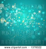 Vector Clip Art of Retro Background of Gold Stars and Bokeh Flares on Turquoise by KJ Pargeter