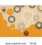 Vector Clip Art of Retro Background of Gray and Orange Circles on Beige by Elaineitalia