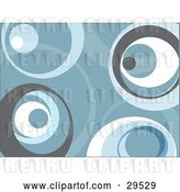 Vector Clip Art of Retro Background of Gray, Blue and White Circles by KJ Pargeter