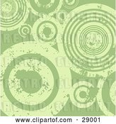 Vector Clip Art of Retro Background of Grungy Green Peeling Circles by KJ Pargeter