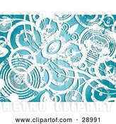 Vector Clip Art of Retro Background of Grungy White Circles over Blue by KJ Pargeter