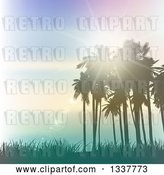 Vector Clip Art of Retro Background of Lighting Effects with Silhouetted Palm Trees Against a Blue Sunset with Light Flares and Grass by KJ Pargeter