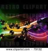 Vector Clip Art of Retro Background of Lp Records, Music Notes and Colorful Waves over Black by Elaineitalia