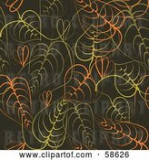 Vector Clip Art of Retro Background of Orange and Green Leaves by MilsiArt