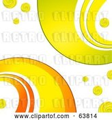 Vector Clip Art of Retro Background of Orange, Yellow and Green Curves on White by Elaineitalia