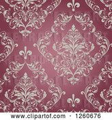 Vector Clip Art of Retro Background of Ornate Floral on Red by OnFocusMedia