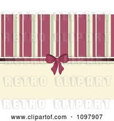 Vector Clip Art of Retro Background of Pink and Beige Stripeswith a Bow and Ribbon by Elaineitalia