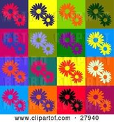 Vector Clip Art of Retro Background of Red, Purple, Orange, Green, Blue, Flowers in Different Colored Squares by KJ Pargeter