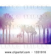 Vector Clip Art of Retro Background of Silhouetted Palm Trees on a Beach Against a Blurred Misty Ocean with Sunset Flares by KJ Pargeter