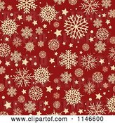 Vector Clip Art of Retro Background of Tan Snowflakes over Red by KJ Pargeter