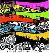 Vector Clip Art of Retro Background of Waves of Circles on Pink, Yellow, Green, Red, White, Blue and Black Waves by KJ Pargeter