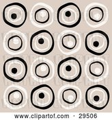 Vector Clip Art of Retro Background of White and Black Circles on a Beige Background by KJ Pargeter