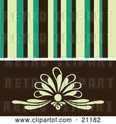 Vector Clip Art of Retro Background of Yellow, Green and Black Stipes over a Floral Design by Elaineitalia