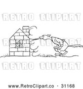 May 9th, 2018: Vector Clip Art of Retro Bad Wolf Trying to Blow down a Pigs House of Bricks by Prawny Vintage