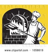 Vector Clip Art of Retro Baker by a Brick Oven by Patrimonio