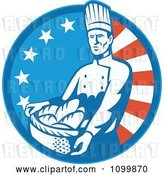 Vector Clip Art of Retro Bakery Chef Carrying a Basket of Bread over an American Circle by Patrimonio