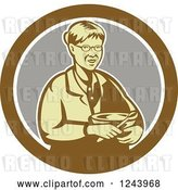 Vector Clip Art of Retro Baking Granny Holding a Mixing Bowl in a Circle by Patrimonio