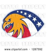 Vector Clip Art of Retro Bald Eagle and American Flag Design by Patrimonio