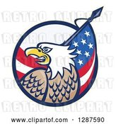 Vector Clip Art of Retro Bald Eagle and American Flag Emerging from a Circle by Patrimonio