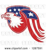 Vector Clip Art of Retro Bald Eagle and American Flag Emerging from a Shield by Patrimonio