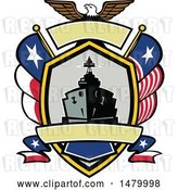 Vector Clip Art of Retro Bald Eagle Crest with a Battle Ship, State and Texas Navy Flags by Patrimonio