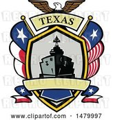 Vector Clip Art of Retro Bald Eagle Crest with a Battle Ship, State and Texas Navy Flags Flags by Patrimonio