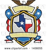 Vector Clip Art of Retro Bald Eagle Crest with the State of Texas and American Themed Flags by Patrimonio