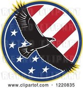 Vector Clip Art of Retro Bald Eagle Flying over an American Flag Circle by Patrimonio