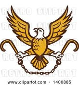 Vector Clip Art of Retro Bald Eagle Flying with a Chain and Towing J Hooks by Patrimonio