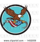 Vector Clip Art of Retro Bald Eagle Flying with a Towing J Hook and an American Flag Banner by Patrimonio
