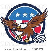 Vector Clip Art of Retro Bald Eagle Flying with a Towing J Hook over an American Circle by Patrimonio