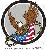 Vector Clip Art of Retro Bald Eagle Flying with an American Flag and Towing J Hook in a Black White and Gray Circle by Patrimonio