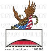 Vector Clip Art of Retro Bald Eagle Flying with an American Flag and Towing J Hook over a Sign by Patrimonio
