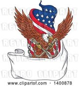 Vector Clip Art of Retro Bald Eagle Flying with Towing J Hooks over a Blank Ribbon Banner and American Flag by Patrimonio