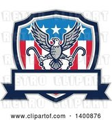 Vector Clip Art of Retro Bald Eagle Flying with Towing J Hooks over an American Shield with a Blank Banner by Patrimonio