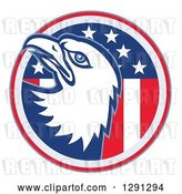 Vector Clip Art of Retro Bald Eagle Head Emerging from an American Flag Circle by Patrimonio