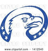 Vector Clip Art of Retro Bald Eagle Head in a Blue and White American Themed Oval by Patrimonio